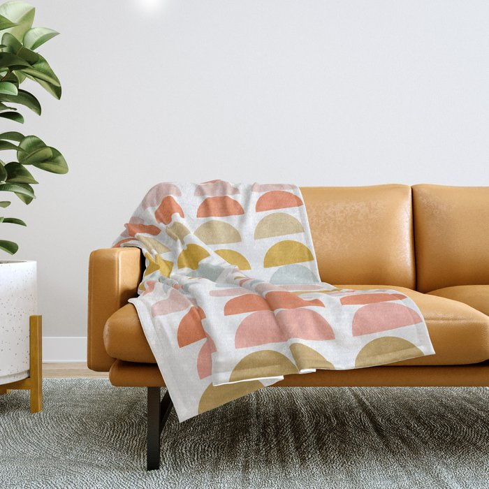 Geometric Half Circles Pattern in Earth Tones Throw Blanket