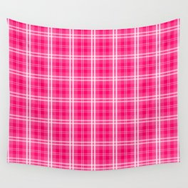 Bright  Neon Pink and White Tartan Plaid Check Wall Tapestry