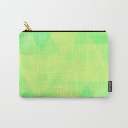 Bright lime and lemon triangles in the intersection and overlay. Carry-All Pouch