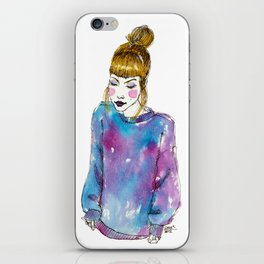 Fashion Illustration - Girl with a Sweater iPhone Skin