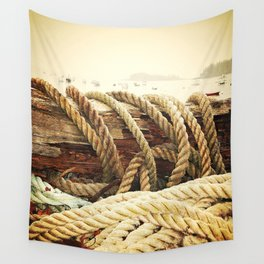 Nautical Seascape in Sepia Wall Tapestry