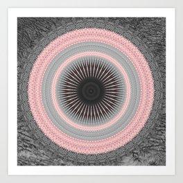 Metal Silver and Pink Mandala Abstract Art Print