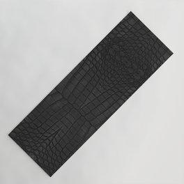Black Crocodile Leather Print Yoga Mat