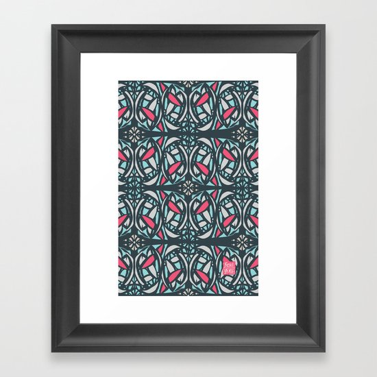 Stained Glass Tile Framed Art Print
