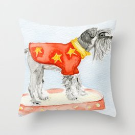 Starry Scruffy Schnauzer Throw Pillow