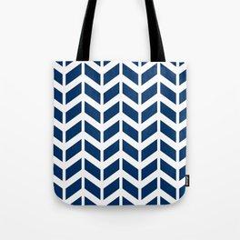 Dark blue and white chevron pattern Tote Bag