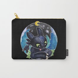 Baby Toothless Night Fury Dragon Watercolor black bg Carry-All Pouch
