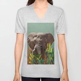 Elephant with colorful leaves Unisex V-Neck