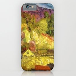 The Village on the Hill landscape painting by George Wesley Bellows iPhone Case