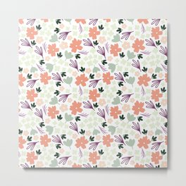 Muted Spring Floral Colors, Seamless Pattern, Fun Pattern, Spring Designs, Floral Design Metal Print