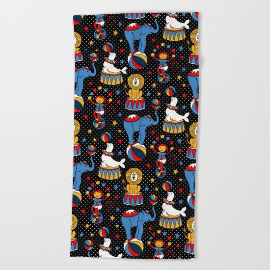 Little Circus Stars on Black Beach Towel
