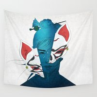 mask Wall Tapestries featuring Fox Mask by SEVENTRAPS
