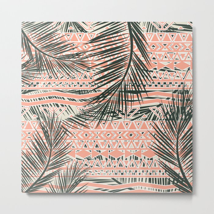 Tropical Aztec    Coral Abstract Aztec Tropical Palm Leaf Pattern Metal Print