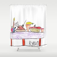thanksgiving Shower Curtains featuring Thanksgiving Feast by Ryan van Gogh
