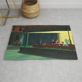 NIGHTHAWKS downtown diner late at night iconic cityscape oil on canvas painting by Edward Hopper Rug