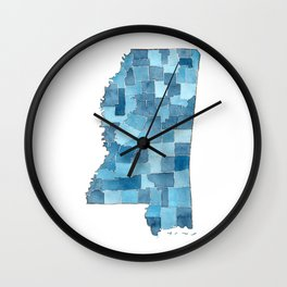 Mississippi Counties Blueprint watercolor map Wall Clock