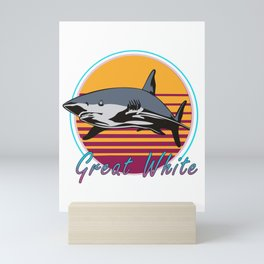 Vintage Retro 80s Art Great White Shark Novelty Gift Mini Art Print