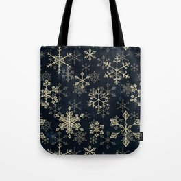 Snowflake Crystals in Gold Tote Bag