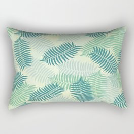 Fern Leaves on Pale Green Background Rectangular Pillow