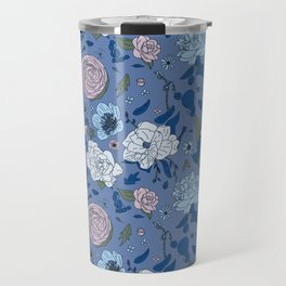 Lovely Seamless Floral Pattern With Subtle Poodles (Hand Drawn) Travel Mug