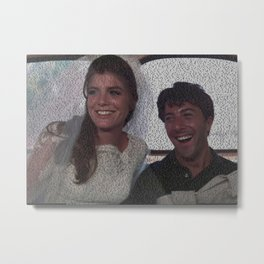 Text Portrait of Benjamin Braddock and Elaine Robinson with full script of the movie The Graduate Metal Print