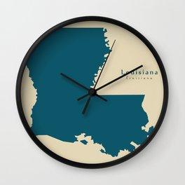 Modern Map - Louisiana state USA Wall Clock