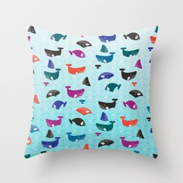Whale Yes! Waves Throw Pillow
