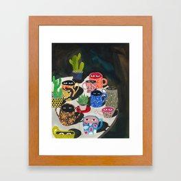 Suspicious mugs Framed Art Print