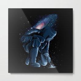 Welder In Space Metal Print