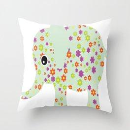 cute floral elephant Throw Pillow