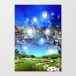White lanterns with cherry blossom and mountain temple Canvas Print