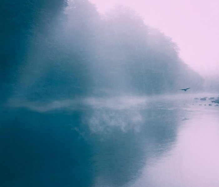 Pastel Serenity - Misty River Scene Metal Travel Mug