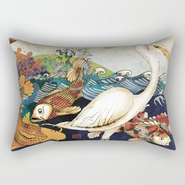 Koi & Egret Rectangular Pillow