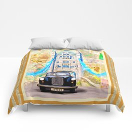 Classic Black Cab - London Tower Bridge Comforters