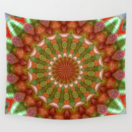 Fruit and Vegetable Colored Kaleidoscope Wall Tapestry
