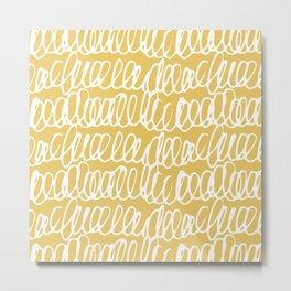 Doodles Waves Yellow Metal Print