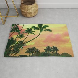 Tahitian Sunset Colorized, Teal and Peach Rug