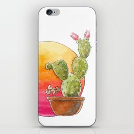 Cactus and sunset watercolor illustration iPhone Skin