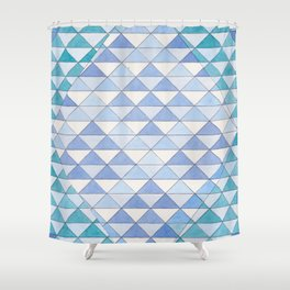 Triangle Pattern No. 9 Shifting Blue and Turquoise Shower Curtain