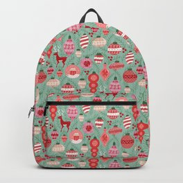 Mid-Century Ornaments in Red and Mint Backpack