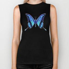 blue butterfly with glow Biker Tank