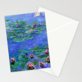 Claude Monet Waterlilies Red Stationery Cards