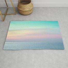 Pastel retro Malibu VII calm ocean & sky Rug