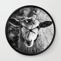 sheep Wall Clocks featuring Sheep by SilverSatellite