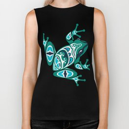 Frog Pacific Northwest Native American Indian Style Art Biker Tank