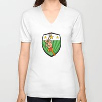lacrosse V-neck T-shirts featuring Native American Lacrosse Player Shield by patrimonio