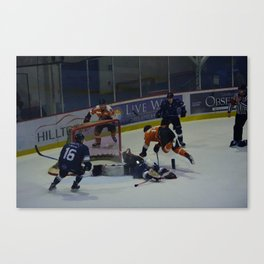 Dive for the Goal - Ice Hockey Canvas Print