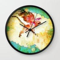 mythology Wall Clocks featuring Gryphon mythology by Ganech joe