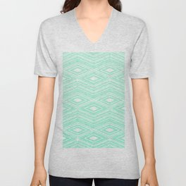 Hipster Mint Green Arrows Aztec Tribal Pattern Unisex V-Neck
