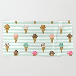 ice cream cones flavors mint stripes food fight apparel and gifts Beach Towel